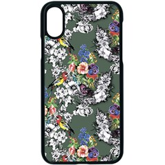 Vintage flowers and birds pattern iPhone X Seamless Case (Black)