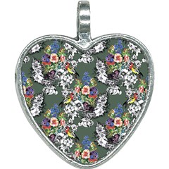 Vintage flowers and birds pattern Heart Necklace