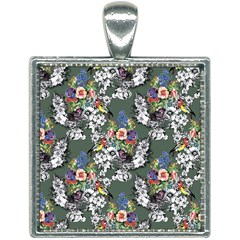 Vintage flowers and birds pattern Square Necklace