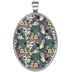 Vintage flowers and birds pattern Oval Necklace