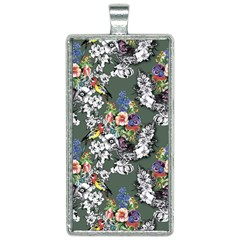 Vintage flowers and birds pattern Rectangle Necklace