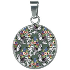 Vintage flowers and birds pattern 20mm Round Necklace