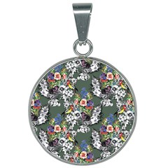 Vintage flowers and birds pattern 25mm Round Necklace