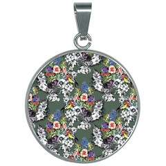 Vintage flowers and birds pattern 30mm Round Necklace