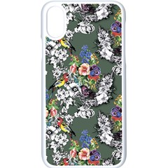 Vintage flowers and birds pattern iPhone XS Seamless Case (White)