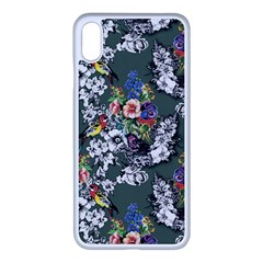 Vintage flowers and birds pattern iPhone XS Max Seamless Case (White)