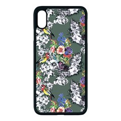 Vintage flowers and birds pattern iPhone XS Max Seamless Case (Black)