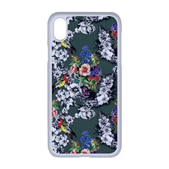 Vintage flowers and birds pattern iPhone XR Seamless Case (White)