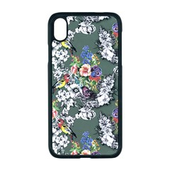 Vintage flowers and birds pattern iPhone XR Seamless Case (Black)