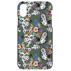 Vintage flowers and birds pattern iPhone XR Black Frosting Case