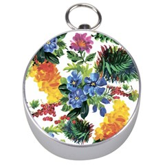 Flowers Painting Silver Compasses