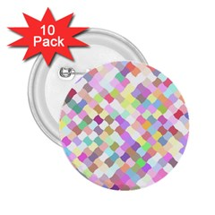 Mosaic Colorful Pattern Geometric 2 25  Buttons (10 Pack)