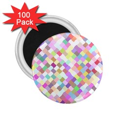Mosaic Colorful Pattern Geometric 2 25  Magnets (100 Pack)