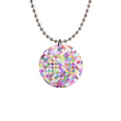 Mosaic Colorful Pattern Geometric 1  Button Necklace