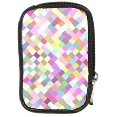 Mosaic Colorful Pattern Geometric Compact Camera Leather Case