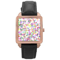 Mosaic Colorful Pattern Geometric Rose Gold Leather Watch