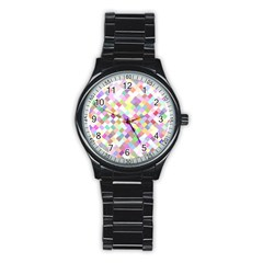 Mosaic Colorful Pattern Geometric Stainless Steel Round Watch