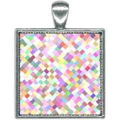Mosaic Colorful Pattern Geometric Square Necklace