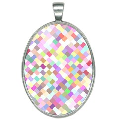 Mosaic Colorful Pattern Geometric Oval Necklace