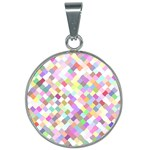 Mosaic Colorful Pattern Geometric 25mm Round Necklace Front