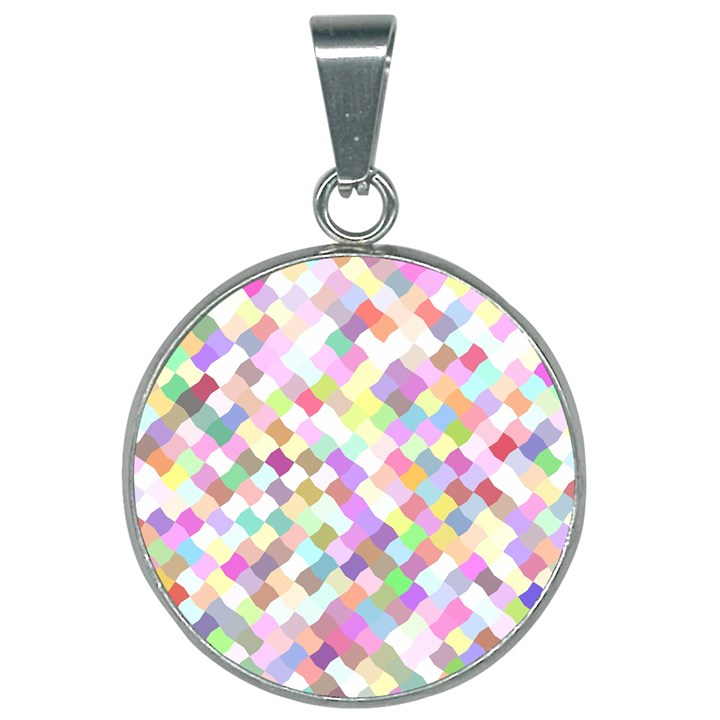 Mosaic Colorful Pattern Geometric 25mm Round Necklace