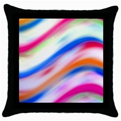 Vivid Colorful Wavy Abstract Print Throw Pillow Case (black)