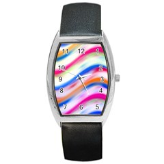 Vivid Colorful Wavy Abstract Print Barrel Style Metal Watch