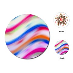 Vivid Colorful Wavy Abstract Print Playing Cards (round)