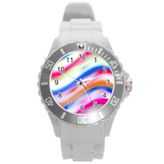 Vivid Colorful Wavy Abstract Print Round Plastic Sport Watch (l)