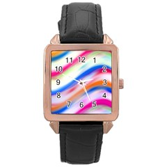 Vivid Colorful Wavy Abstract Print Rose Gold Leather Watch