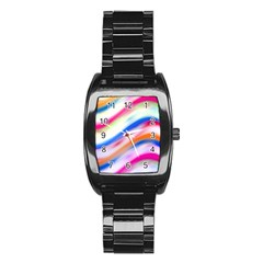 Vivid Colorful Wavy Abstract Print Stainless Steel Barrel Watch