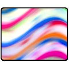 Vivid Colorful Wavy Abstract Print Double Sided Fleece Blanket (medium)