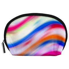 Vivid Colorful Wavy Abstract Print Accessory Pouch (large)