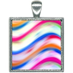 Vivid Colorful Wavy Abstract Print Square Necklace