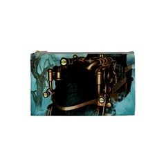 Spirit Of Steampunk, Awesome Train In The Sky Cosmetic Bag (small) by FantasyWorld7