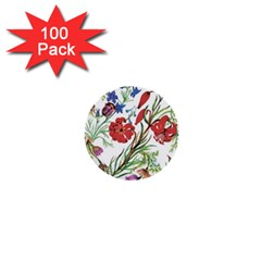 Red And Blue Summer Flowers 1  Mini Buttons (100 Pack)  by goljakoff