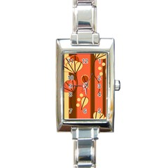 Amber Yellow Stripes Leaves Floral Rectangle Italian Charm Watch