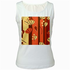 Amber Yellow Stripes Leaves Floral Women s White Tank Top