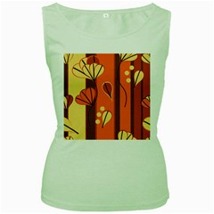 Amber Yellow Stripes Leaves Floral Women s Green Tank Top