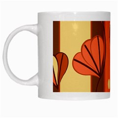 Amber Yellow Stripes Leaves Floral White Mugs