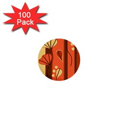 Amber Yellow Stripes Leaves Floral 1  Mini Buttons (100 Pack)