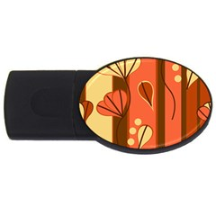 Amber Yellow Stripes Leaves Floral Usb Flash Drive Oval (4 Gb)