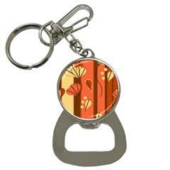 Amber Yellow Stripes Leaves Floral Bottle Opener Key Chains
