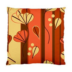Amber Yellow Stripes Leaves Floral Standard Cushion Case (one Side)