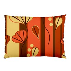 Amber Yellow Stripes Leaves Floral Pillow Case