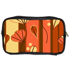 Amber Yellow Stripes Leaves Floral Toiletries Bag (one Side)