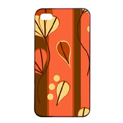 Amber Yellow Stripes Leaves Floral Iphone 4/4s Seamless Case (black)