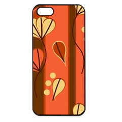 Amber Yellow Stripes Leaves Floral Iphone 5 Seamless Case (black)
