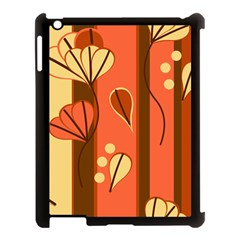 Amber Yellow Stripes Leaves Floral Apple Ipad 3/4 Case (black) by Mariart