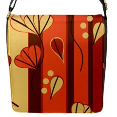 Amber Yellow Stripes Leaves Floral Flap Closure Messenger Bag (s)